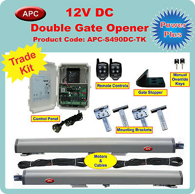12V DC Powered Double Swing Gate Opener Trade Kit w built in limit restrictors