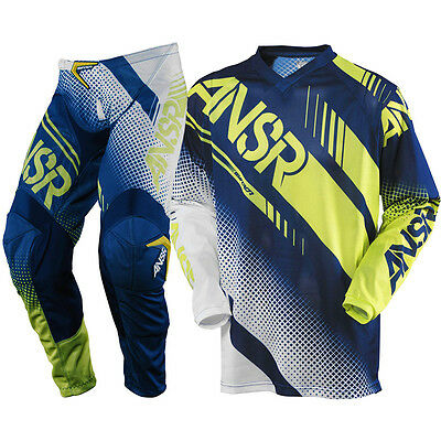 Answer 2017 Mx NEW Syncron Air White Navy Acid Vented Motocross Gear Set