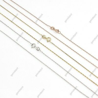 """14K White/Yellow/Rose Gold Over 925 Silver Singapore Rope Chain Necklace 18"""""""