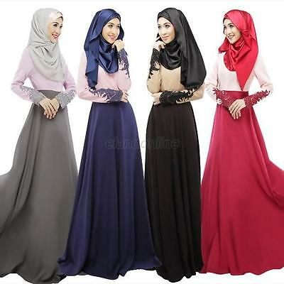 Islamic Muslim Bow Women Long Sleeve Kaftan Abaya Jilbab Casual Long Maxi Dress
