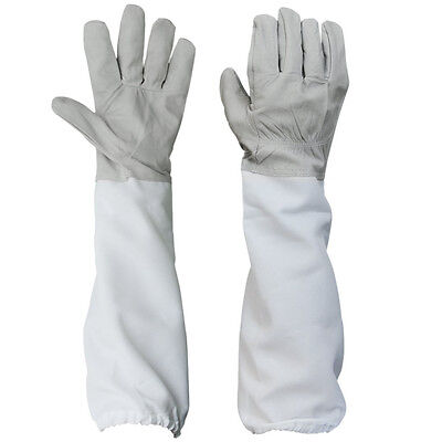 BT Beekeeping Protective Gloves with Vented Long Sleeves-- Grey and White