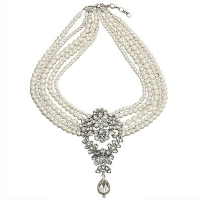 BT Multi-Pearls Crystal Pendant Necklace Fashion Chunky Statement Choker Charm