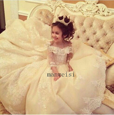 Luxury Flower Girl Princess Kid Party Pageant Wedding Bridesmaid Birthday Dress