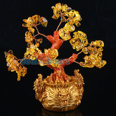 Size S Feng Shui Citrine Lucky Tree Yellow Crytal in Chinese Dragon Pot