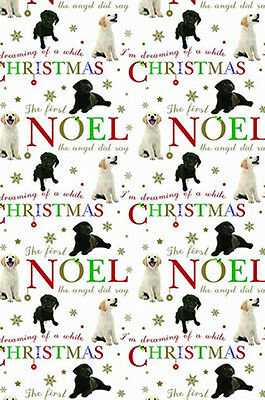 Labrador Dog Xmas Gift Wrap Pack 6 Sheets 6 Tags Christmas Wishes, Quality Paper