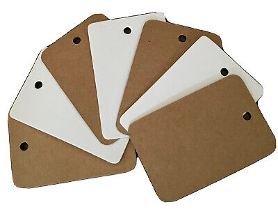 40x60 mm Square Rounded Plain Blank Card Clothing Tags Tagging Gun Price Labels