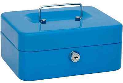 New Money Bank Deposit Steel Tin Security Safe Petty Cash Box With 2 Keys & Tray