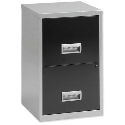 Pierre Henry 2-Drawer Filing Cabinet / A4 / Silver & Black