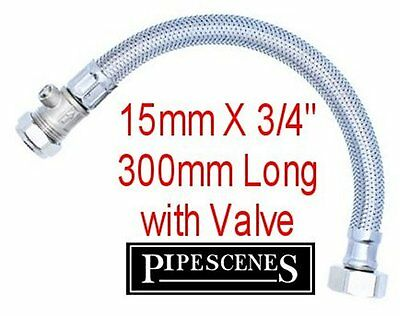 """15mm x 3/4"""" Bath Flexible Tap Tail Connector 300mm Long 30cm with Built In Valve"""