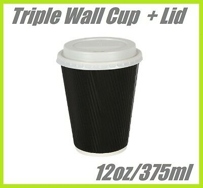 100 12oz COFFEE CUPS TRIPLE WALL DISPOSABLE CUP CAFE TAKEAWAY PAPER TAKE AWAY