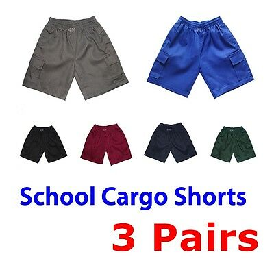 3 Pairs Kids Boys Girls Unisex School Cargo Drill Shorts Uniform Short Pants Sz