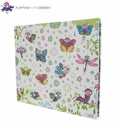 "JSP Large 160 Photos Slip In Photo Album 6""x4"" in White w/ Butterflies Design"