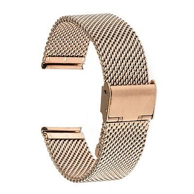 Rose Gold 22mm Stainless Steel Watchband Wrist Band For Moto 360 2 2nd 46mm