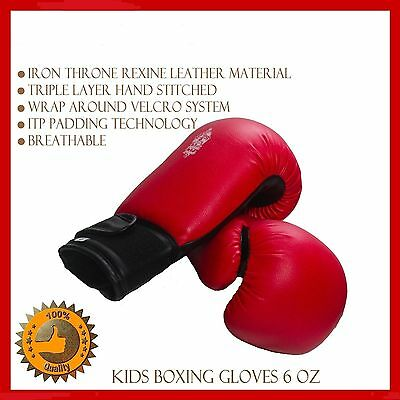 Kids Boxing Gloves 6Oz Children Junior Mitts Leather Punching Pads Kick Boxing