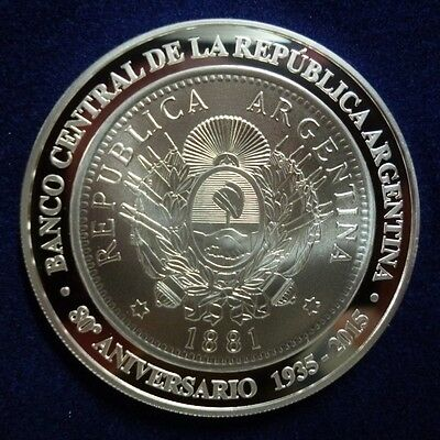 ARGENTINA COMM. SILVER COIN 1 Peso, KMNew PROOF 2015 - 80th Anniv. Central Bank