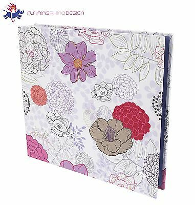 "JSP Medium 80 Photos Slip In Photo Album 6""x4"" Quality Fininsh W/ Purple Flowers"