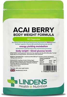 Acai Berry 2X Strength 1000mg Weight Loss Capsules (60 pack) [Lindens 0847]