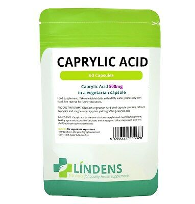 Caprylic Acid 500mg - 60 Hard-Shell High Potency Vegetarian Capsules (LINDENS)