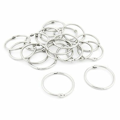 20 Pcs Stationery Metal Book Loose Leaf Snap Rings Keychains S9