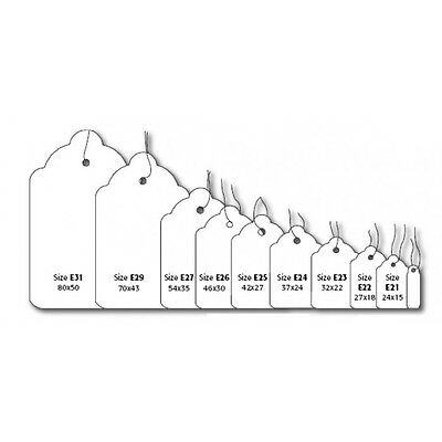 White Kraft Strung String Tags Swing Price Tickets Jewellery Tie On Labels