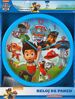 "Paw Patrol Childrens Character 10"" Wall Clock Kids Bedroom Gift Blue Boys Pups"