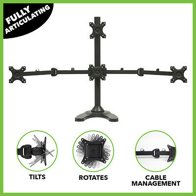 Quad LCD Monitor Stand/Mount Free Standing Adjustable 4 (1 + 3) up to 24""