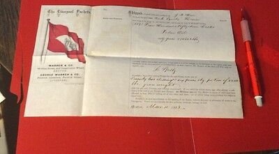Historic Vintage Shipping Receipt Liverpool Packets Steamship History 1863