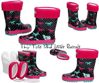 GIRLS WELLIES RAINY BOOTS WELLINGTONS WITH WARMERS Size UK 9-12.5 / EUR 27 - 31