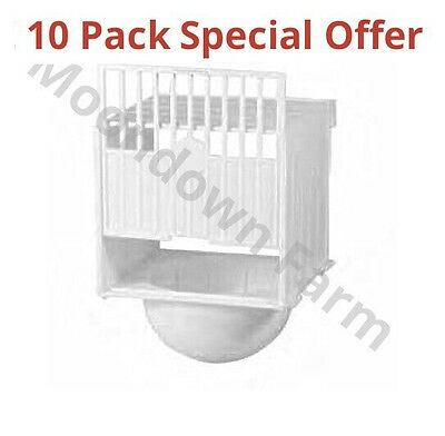 10 x PLASTIC NEST PAN HANGS ON OUTSIDE OF CAGE IDEAL FOR CANARIES & FINCHES etc