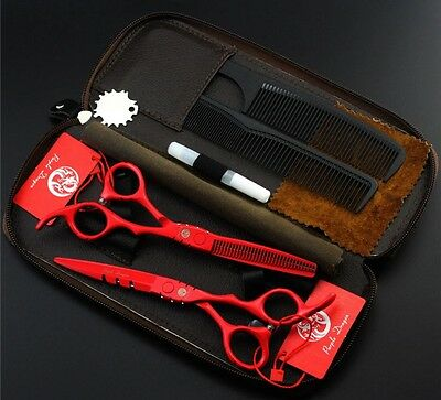 "Hair Scissors 6.0""Professional Cutting Thinning Shears Barber Hairdressing Red"