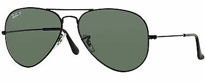 Ray-Ban RB3025 002/58 Aviator Black Frame Polarized Green 55mm Lens Sunglasses