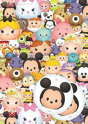 Disney Tsum Tsum | Marie | Roz | Mickey 2 Sheets of Giftwrap Paper | 2 Gift Tags
