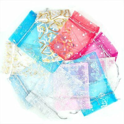 100 Mixed Organza Gift Bags Jewellery Pouch 13cm X 10cm A+