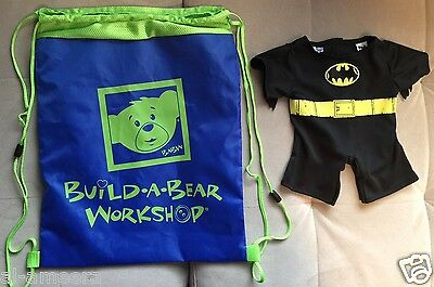 Build-A-Bear 2 items: Large Drawstring Bag and Batman outfit ~ New ~ Ships FREE