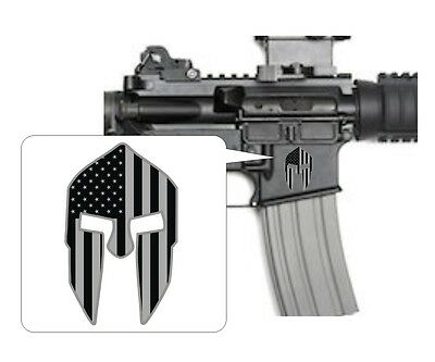 3 - Spartan Helmet Black Ops Stickers | AR15 Lower Decals | Stealth AR-15 Gun