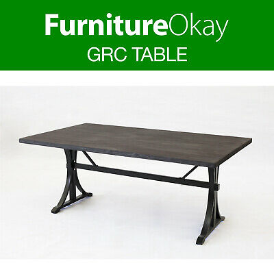 Outdoor 180x100cm Garden Dining Furniture Grey Faux Timber Teak Stone Table