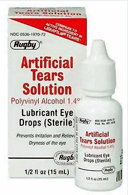 Artificial Tears Solution by Rugby Lubricant Eye Drops 15 ml Humans or Animals