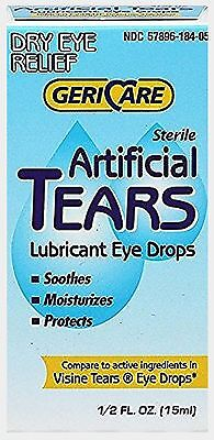 GeriCare Artificial Tears Solution Lubricant Eye Drops 15 ml Humans or Animals