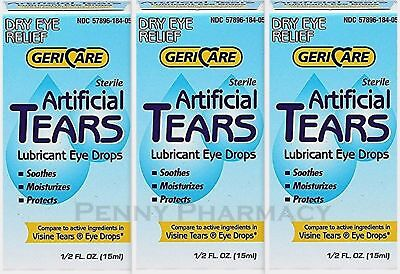 GeriCare Artificial Tears Solution DRY EYE 15 ml Humans or Animals ( 3 pack )