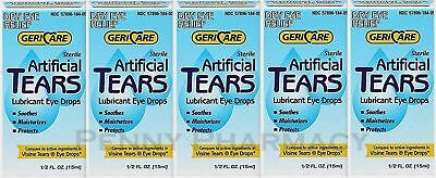 GeriCare Artificial Tears Solution Lubricant 15 ml Humans or Animals ( 5 pack )