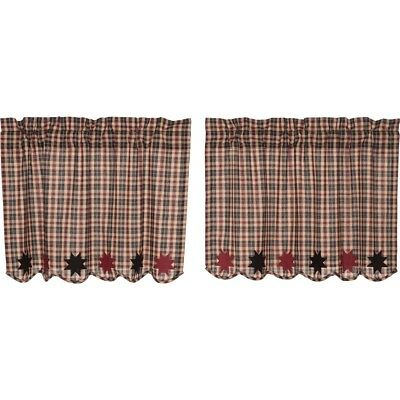 "CARSON STAR SCALLOPED 24"" TIER SET COUNTRY PRIMITIVE Black and Burgundy Plaid**"