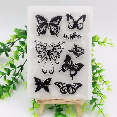 Butterfly Transparent Rubber Clear Stamp Seal Sheet Cling Scrapbooking DIY