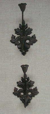 Cast Iron Double Hooks Flowers & Leaves Set of Two