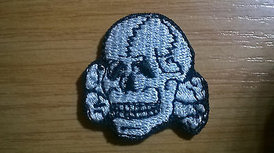 Embroidered Biker Motorcycle Vest Skull sew on material patch