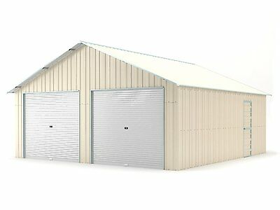 New Double Garage 6.4m x 7.2m Widespan Cream ships to NZ only