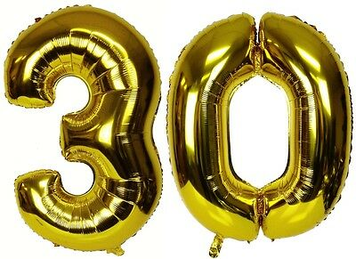 """16"""" 30 Gold Number Balloons 30th Birthday Party Anniversary Foil Balloon Decor"""