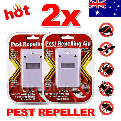 Electronic Ultrasonic Pest Control Repeller Insects Rodents Roaches 2 X