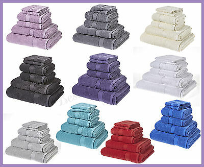 Seven Piece Towel Stacked Set Egyptian Cotton Hand & Face Bath Towels