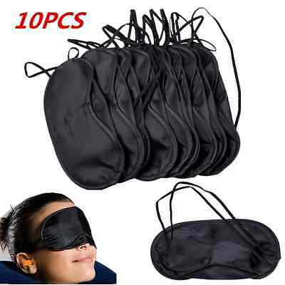 10pcs/Lot Black Soft Eye Sleep Mask Aid Shade Cover Blindfold For Rest Travel