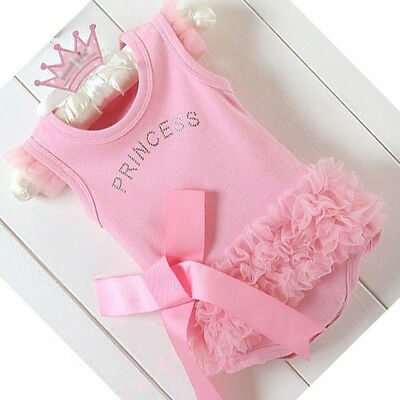 Newborn Baby Girls Kid Cotton Pink Bodysuit Princess T-Shirt Top Suit Dress New
